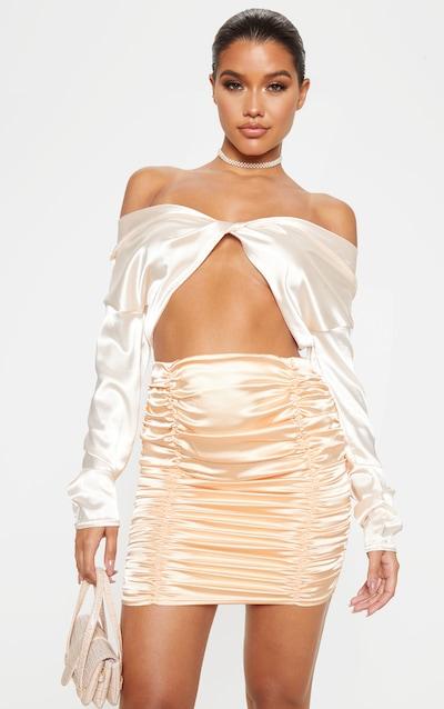 Peach Satin Ruched Detail Mini Skirt