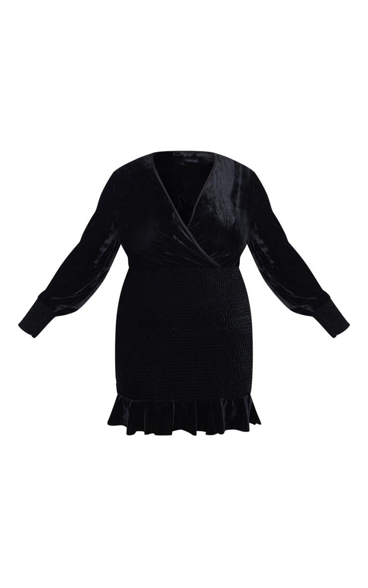 Plus Black Velvet Ruched Skirt Bodycon Dress 3