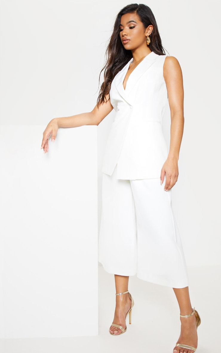 White High Waisted Culottes