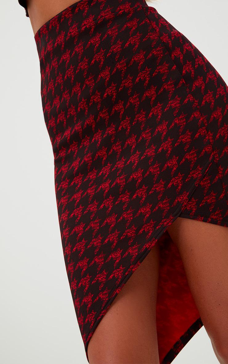 Red Dogtooth Asymmetric Hem Midi Skirt 5