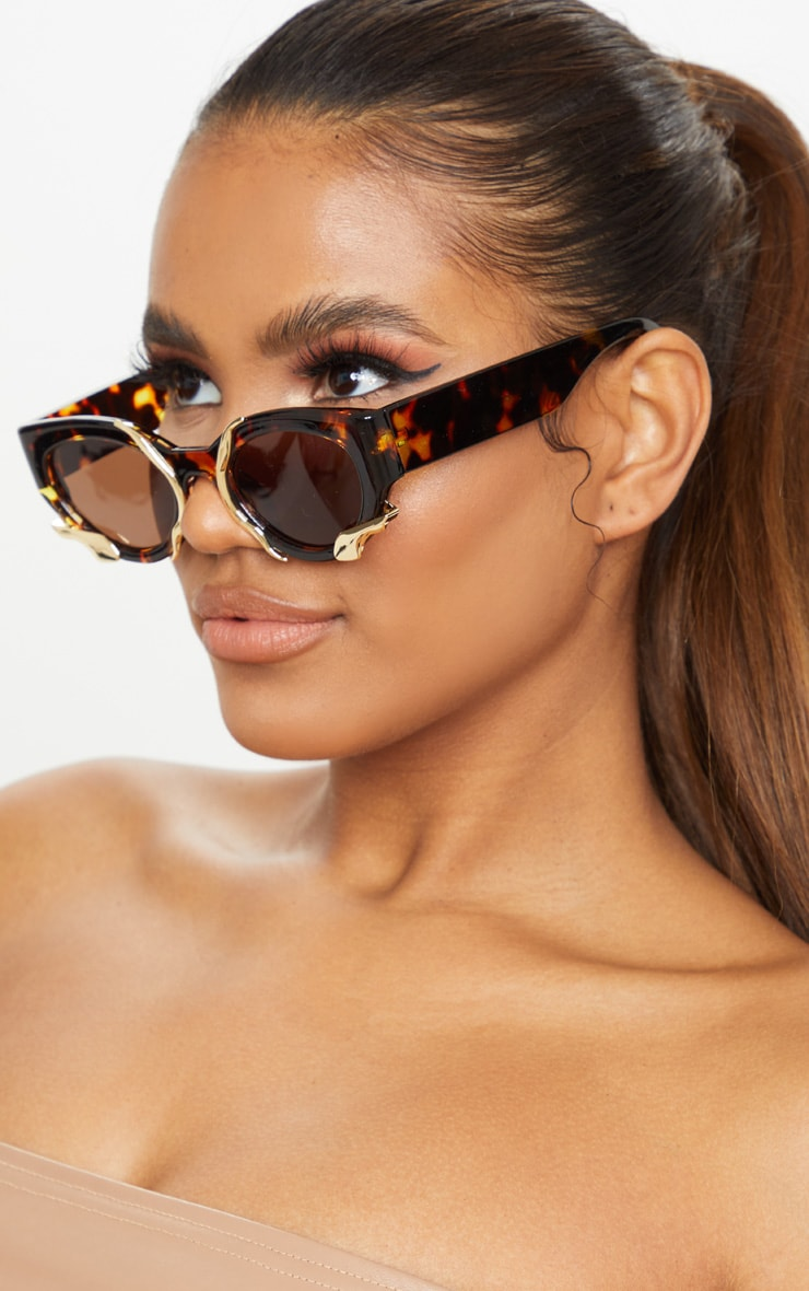 Brown Tortoise Gold Trim Sunglasses 1