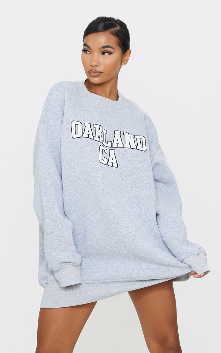 Grey Oakland Slogan Oversized Sweatshirt Dress 1