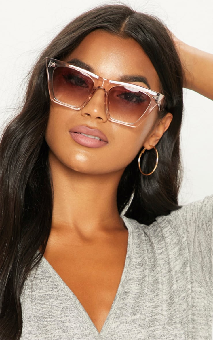 Nude Clear Angular Sunglasses 1