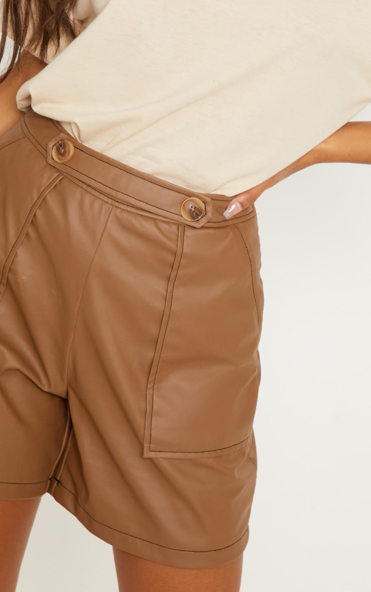Taupe Button Detail Contrast Stitch Faux Leather Short 6