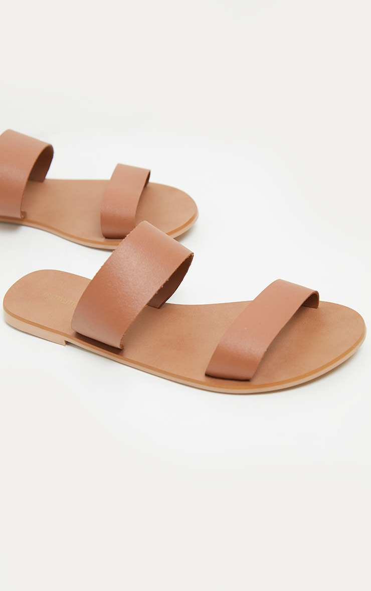 Tan Twin Strap Basic Leather Sandal 3