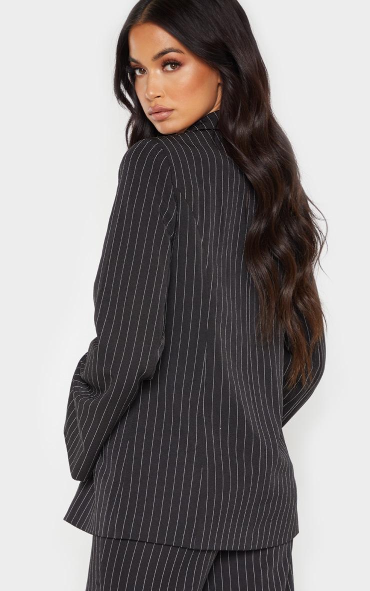 Black Pinstripe Longline Oversized Woven Blazer    2