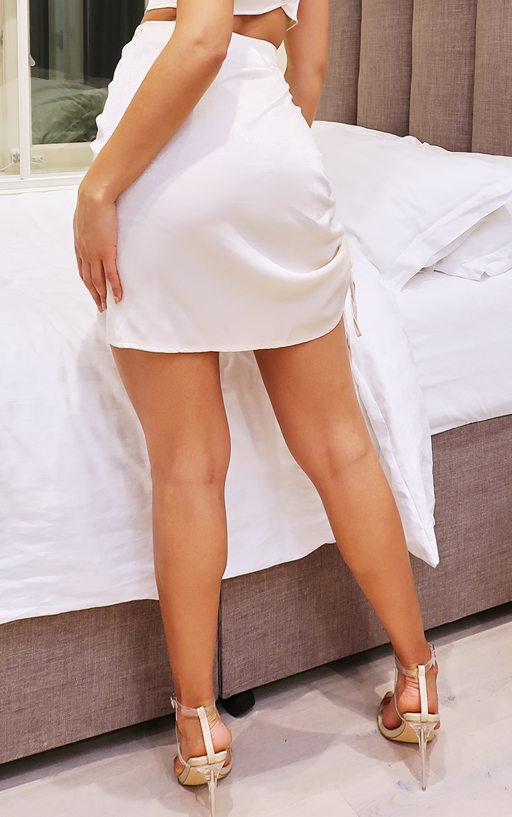 Cream Hammered Satin Ruched Detail Mini Skirt 3