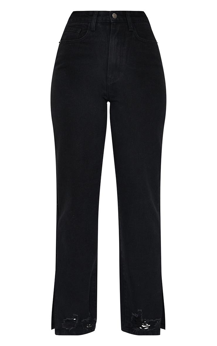 Petite Black Wash Ripped Split Hem Straight Leg Jeans 5