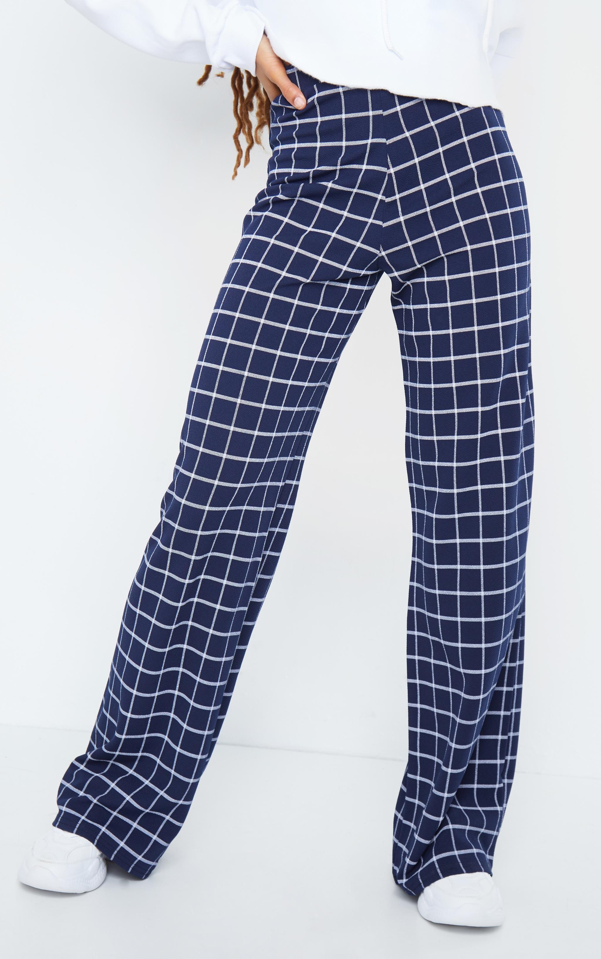 Navy Check Print Wide Leg Pants 2