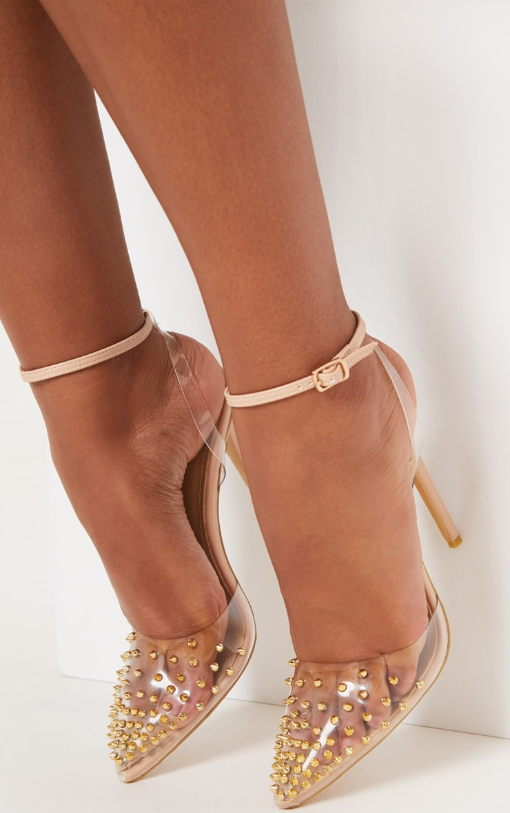 Nude Studded Clear Court Shoes  2