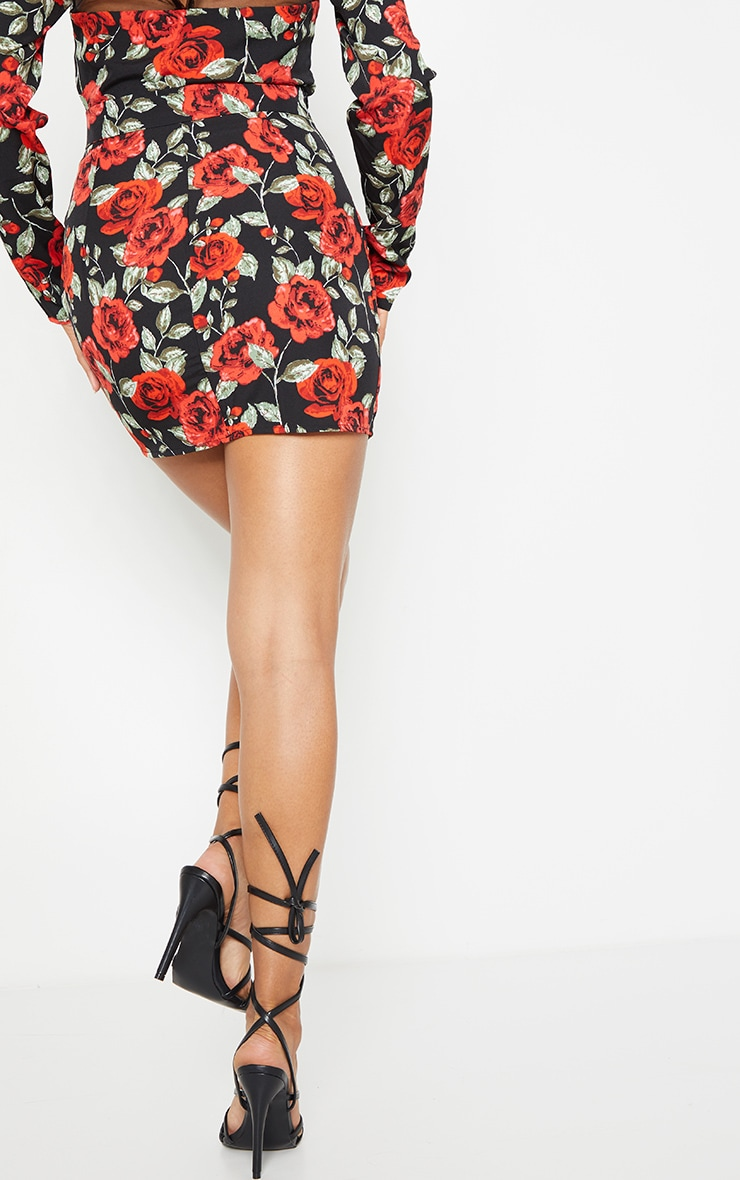 Black Rose Floral Print Woven Seam Front Mini Skirt 3