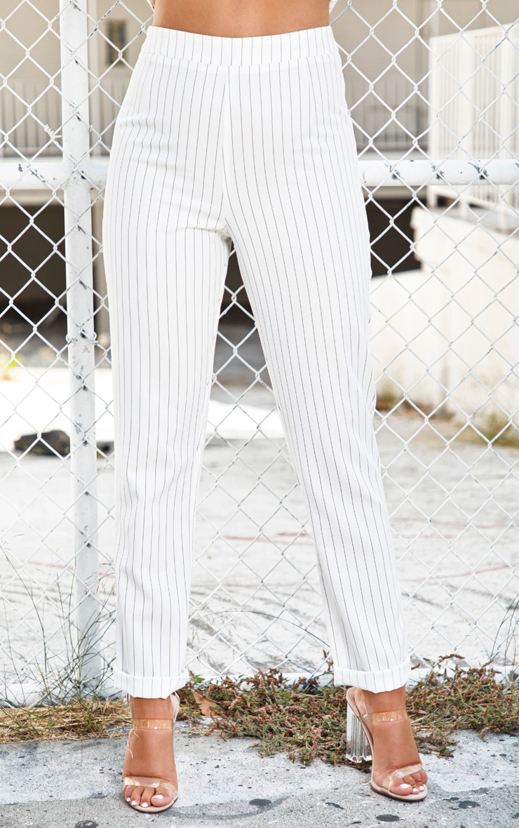White Pinstripe High Waisted Straight Leg Pants 2
