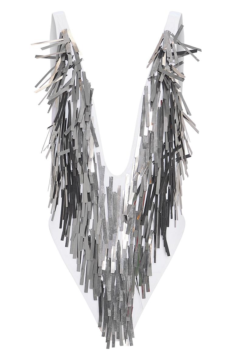 Silver Sequin Fringe Plunge Swimsuit 3