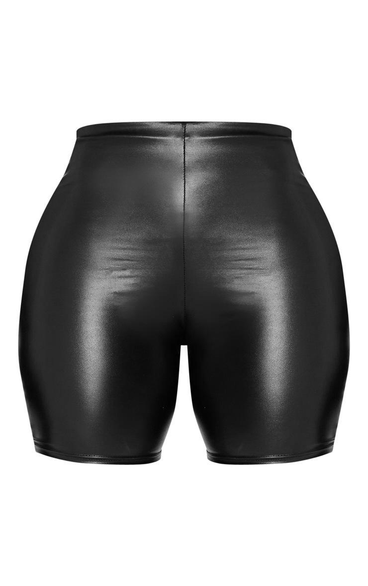Shape Black High Waisted PU Bike Shorts 3