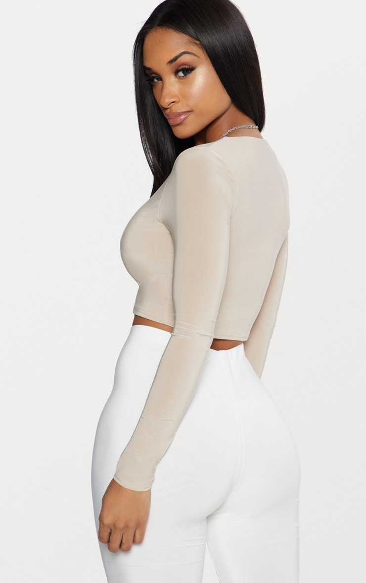 Stone Second Skin Long Sleeve V Neck Crop Top  2