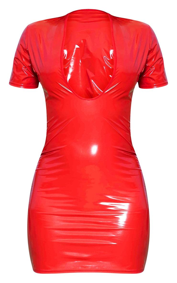 Red Vinyl Plunge Front Bodycon Dress 5