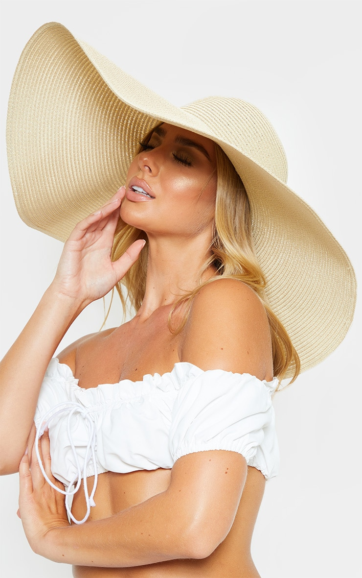 Cream Extra Large Oversized Sun Hat 1