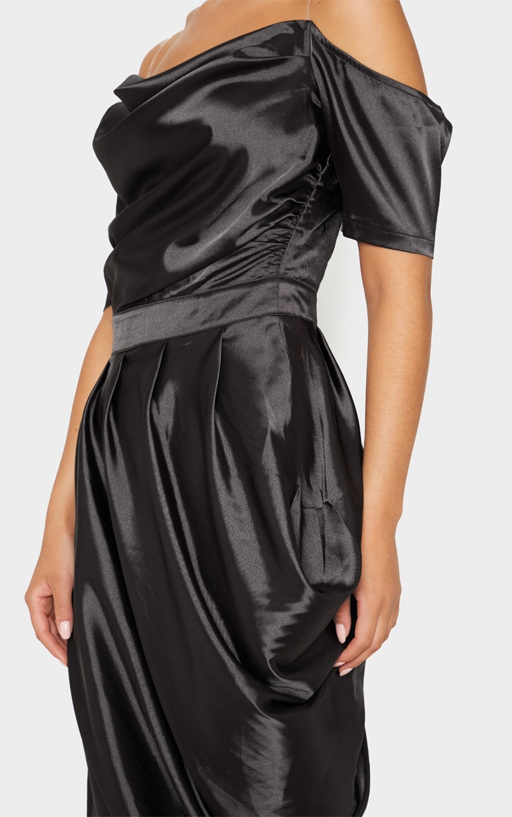 Black Satin Ruched Asymmetric Hem Maxi Dress 5