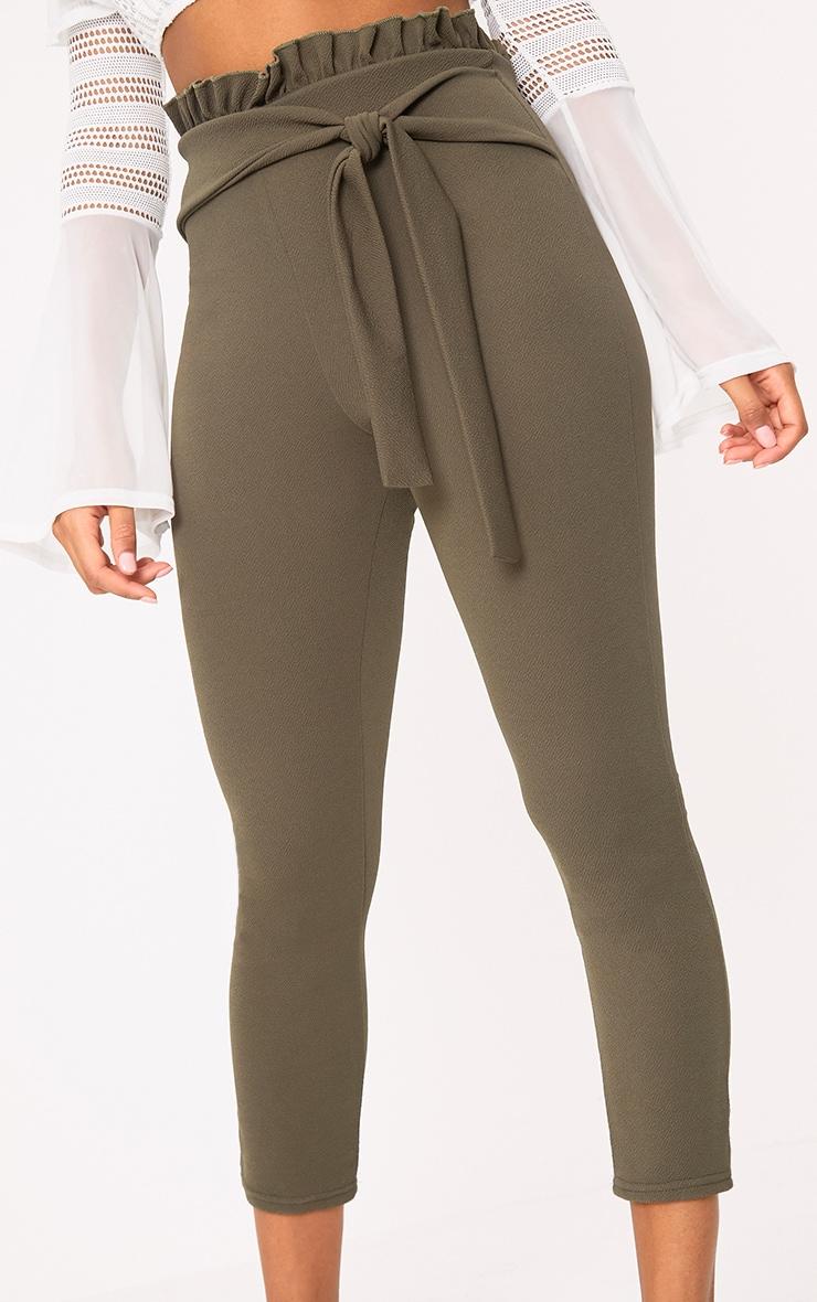 Khaki Paper Bag Skinny Trousers 5