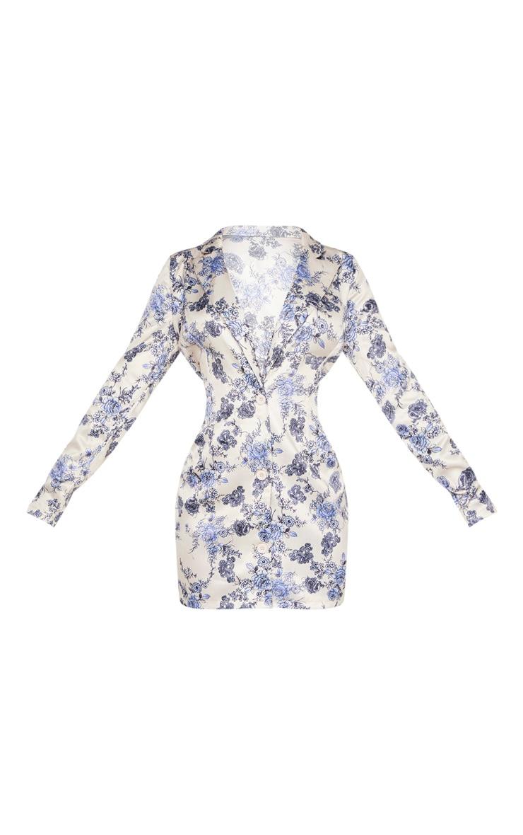 Champagne Oriental Floral Satin Blazer Dress 3