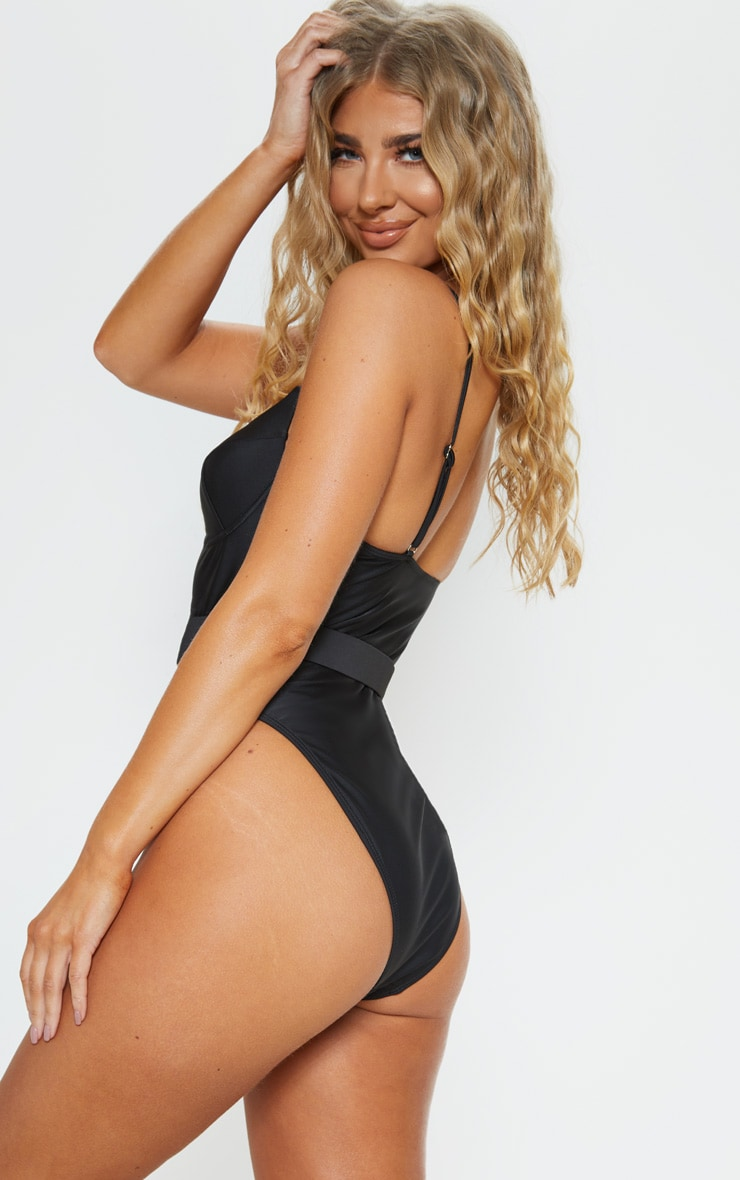 Black Belted Cupped Swimsuit 2