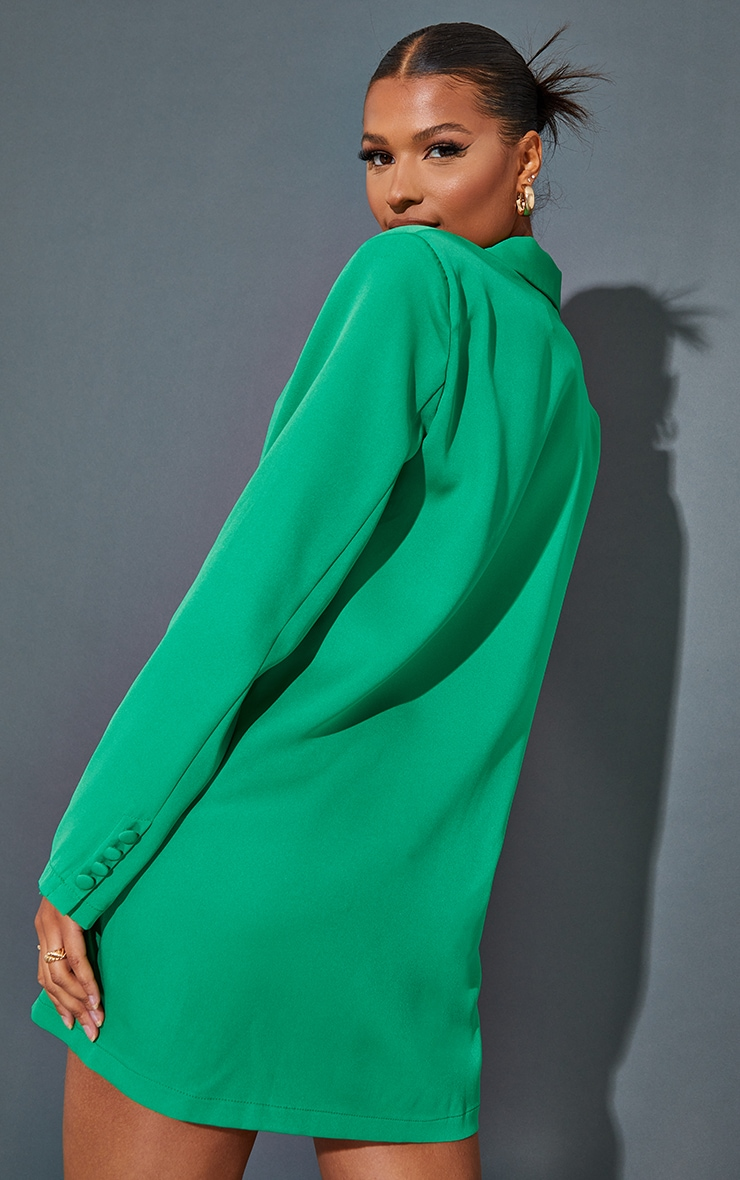 Green Long Sleeve Oversized Shoulder Pad Blazer Dress 2