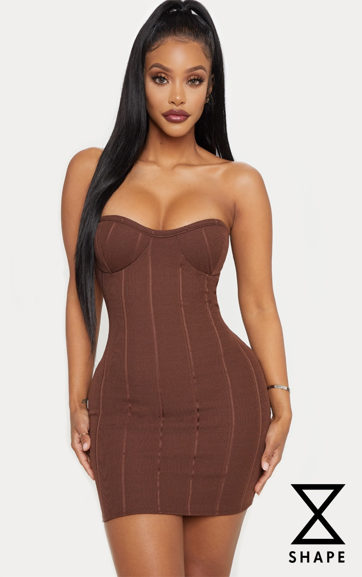 Shape Chocolate Brown Bandage Bust Cup Bodycon Dress by Prettylittlething