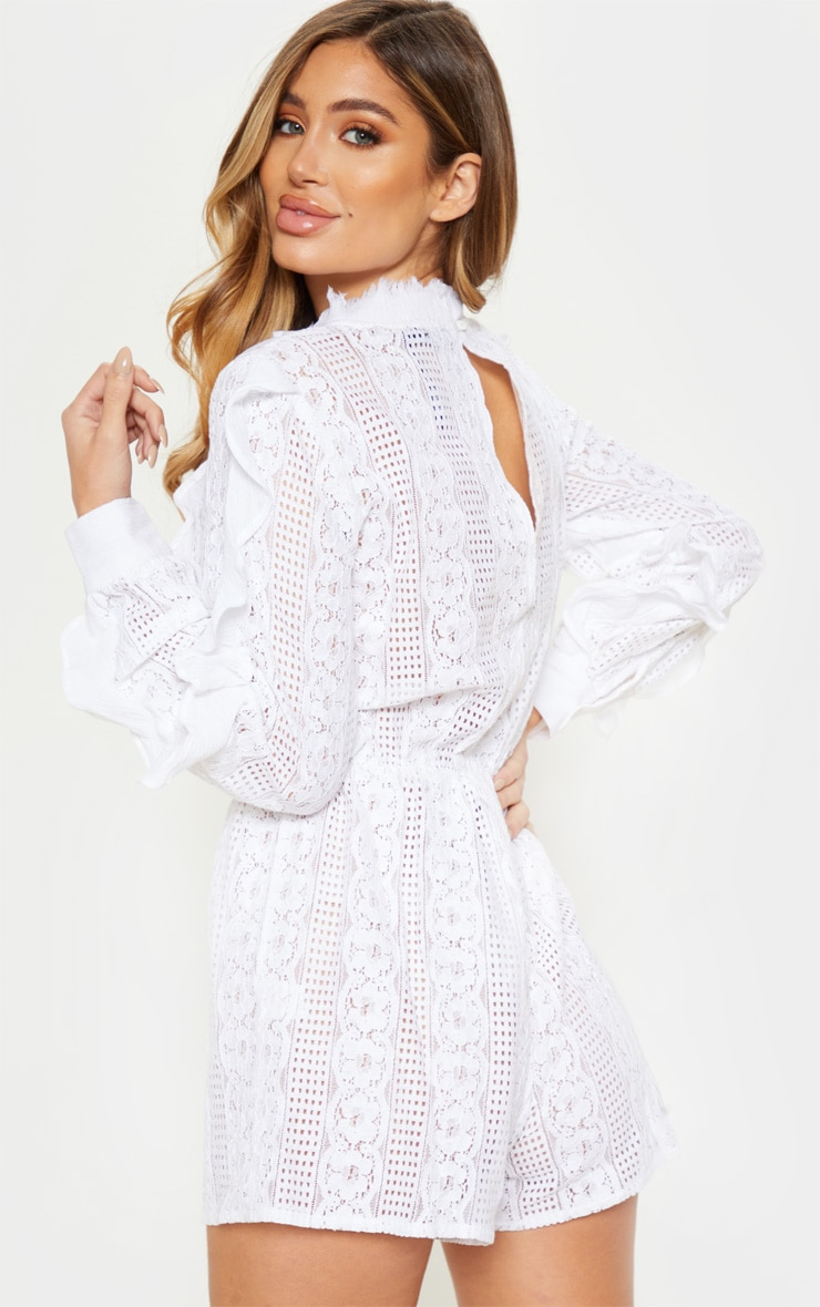 White Lace Frill Detail Long Sleeve Playsuit 2