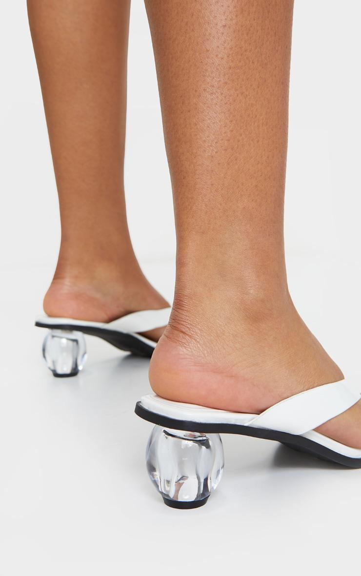 White Bubble Heel Toe Thong Heeled Mules 2