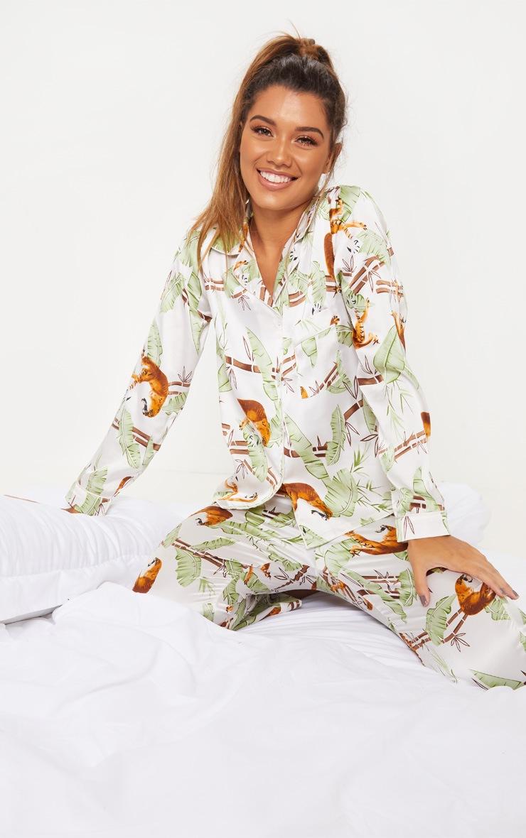 Jungle Tiger Long Satin Pyjama Set 1