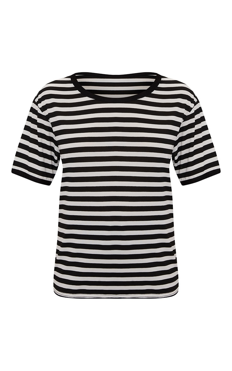 Black Contrast Stripe Fitted T Shirt  3