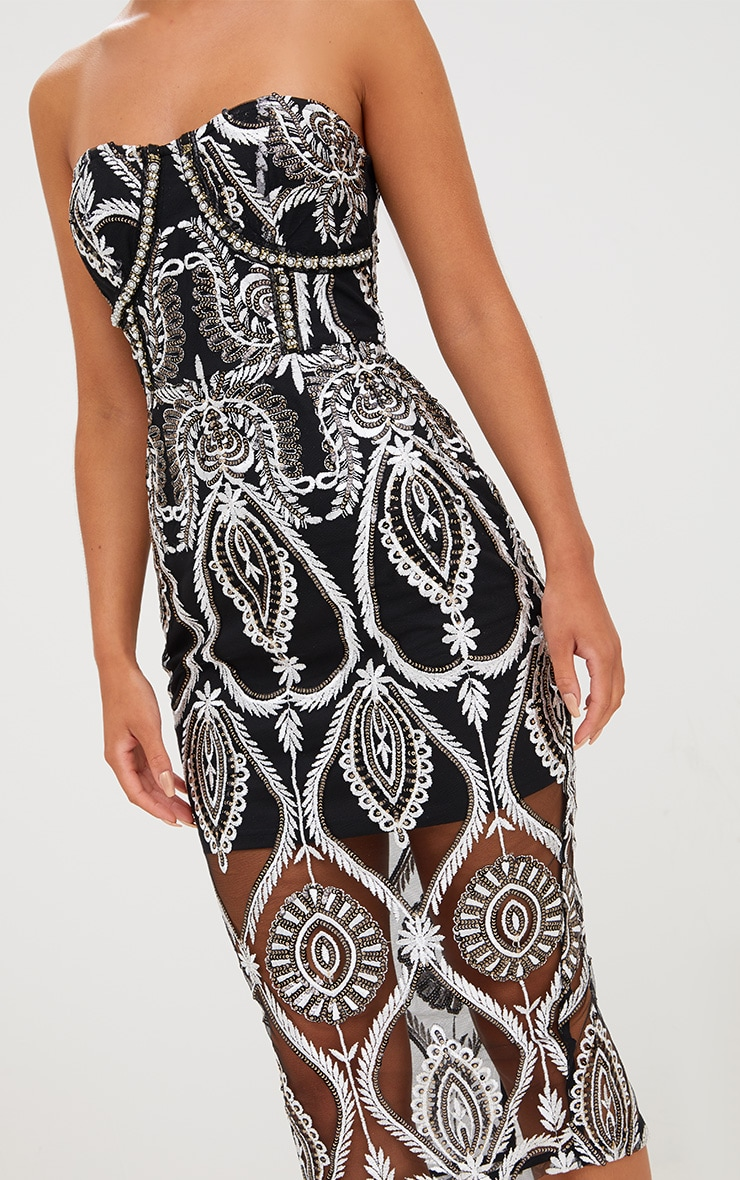 Premium Black Sequin Embroidered Bandeau Midi Dress 6