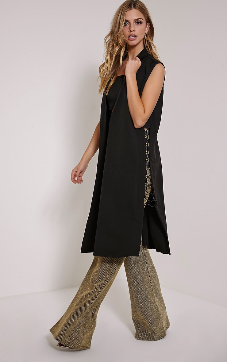 Loiss Black Lace Up Side Longline Sleeveless Blazer 1