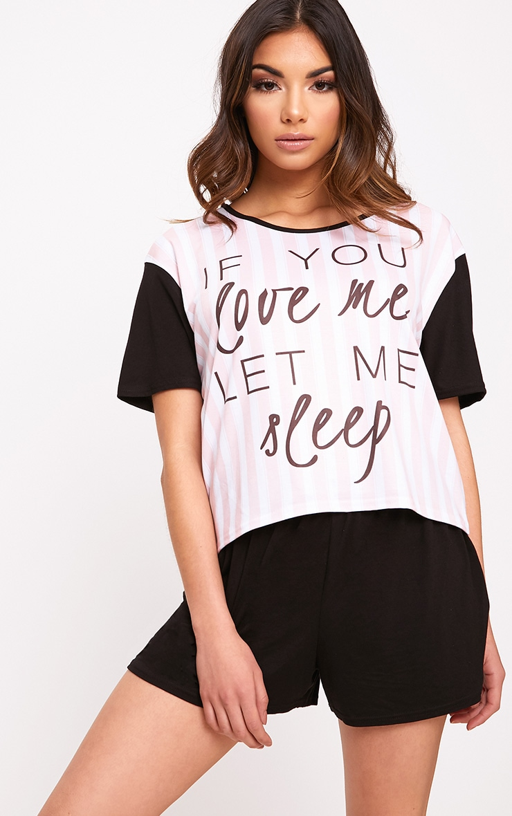 If You Love Me Pink Stripe PJ Set 1