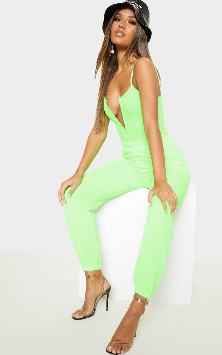 Neon Lime Strappy Ribbed V Plunge Bodysuit 5