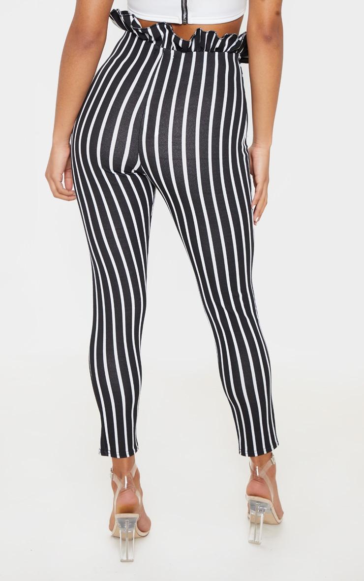 Black Pinstripe Paperbag Skinny Trousers 4