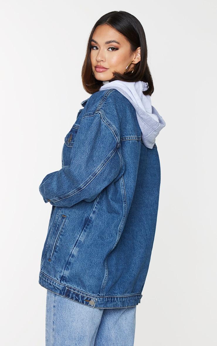 Dark Blue Wash Hooded Denim Jacket 2