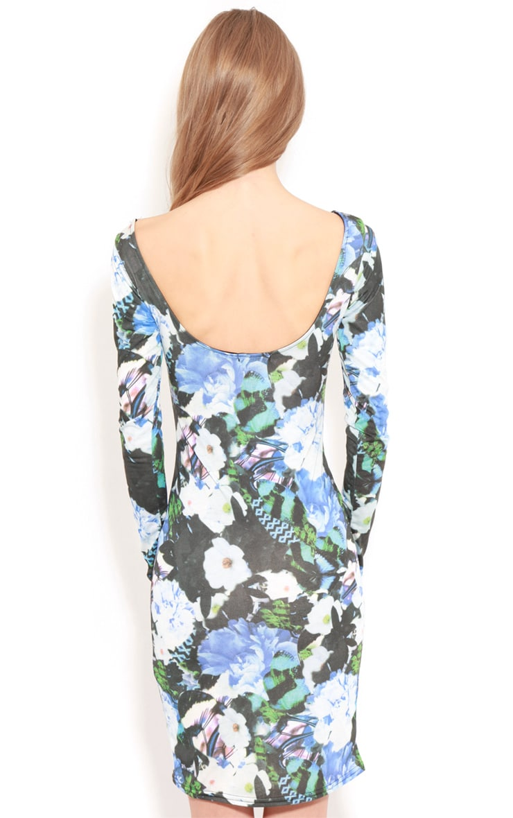 Cherise Blue Floral Long Sleeve Bodycon Dress 2