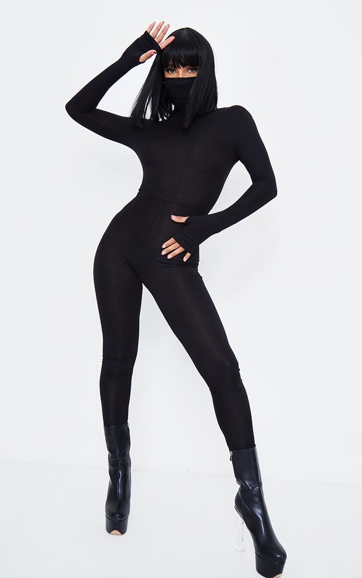 Black Long Sleeve Mask Jumpsuit 2