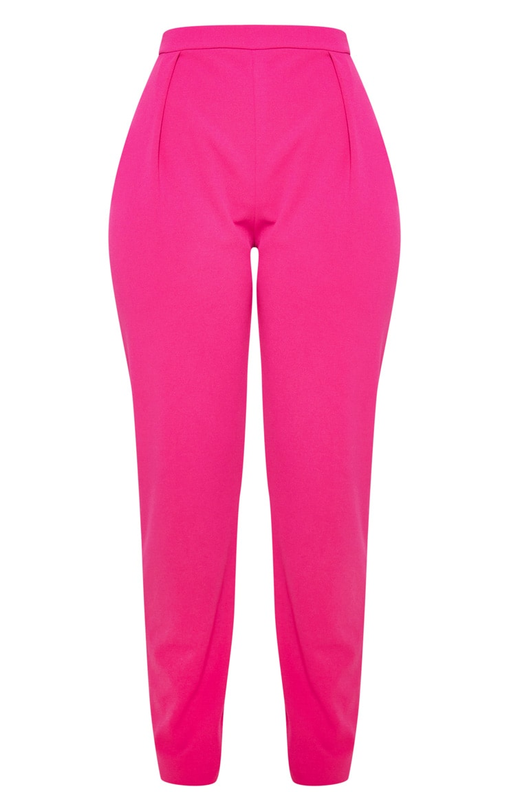 Pantalon cigarette en crêpe rose  3