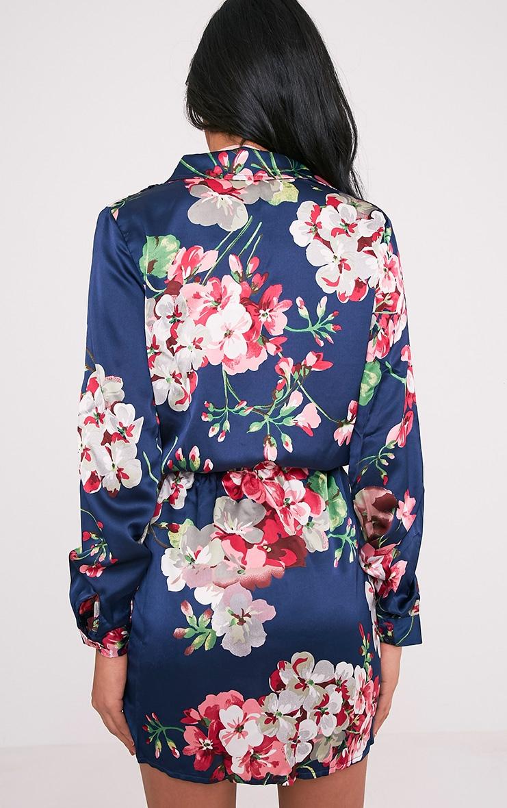 Katalea Navy Floral Twist Front Shirt Dress 2