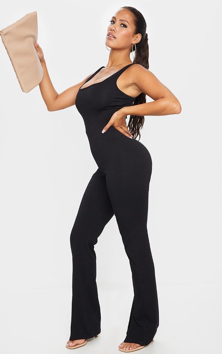 Shape Black Cotton Square Neck Split Front Jumpsuit 3