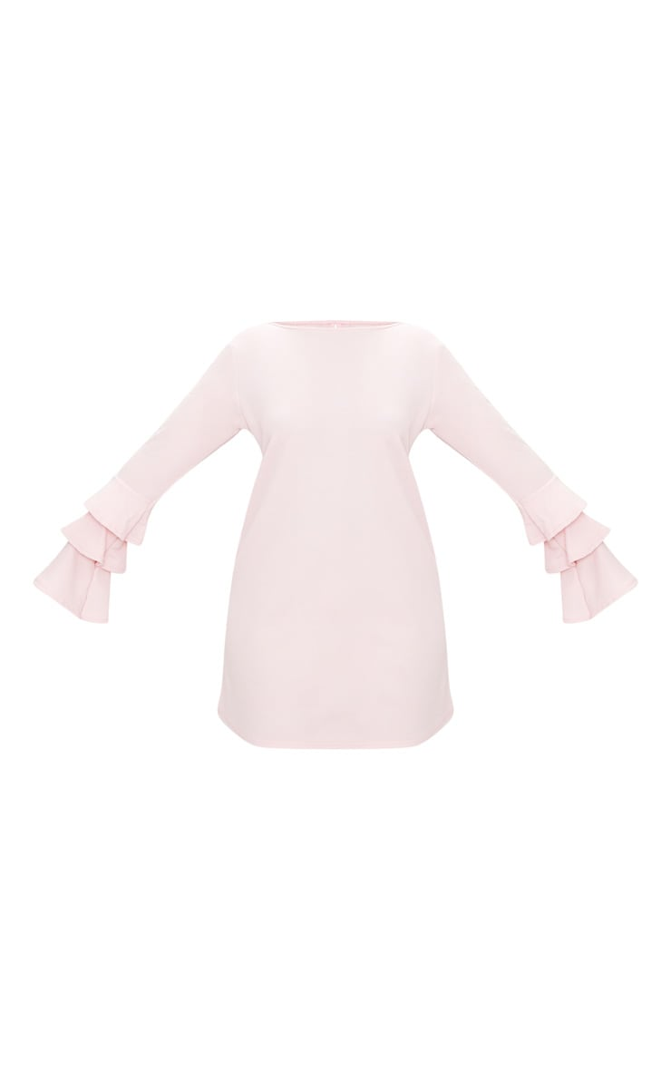 Plus Dusty Pink Frill Sleeve Shift Dress 3