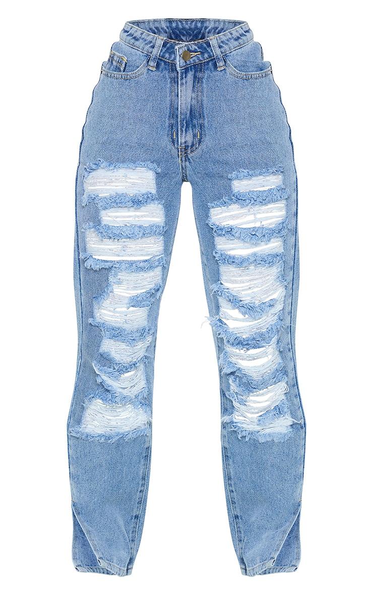 PRETTYLITTLETHING Petite Mid Blue Dip Waist Full Distress Split Hem Denim Jeans 5