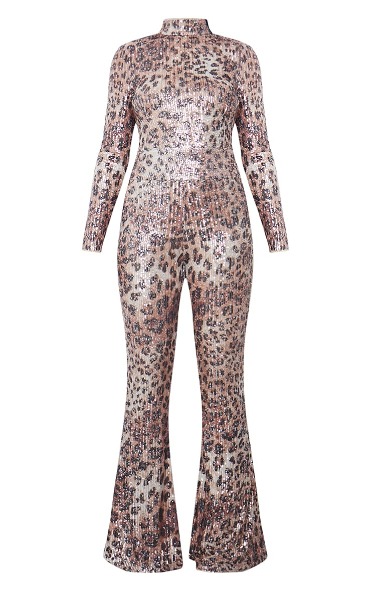 Multi Leopard Sequin Shoulder Pad High Neck Flare Leg Jumpsuit 5