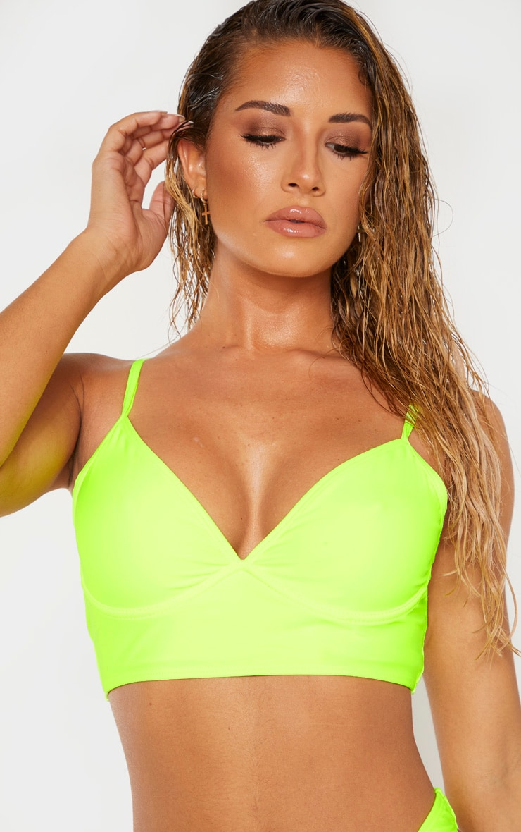 Neon Yellow Underwired Longline Bikini Top 4