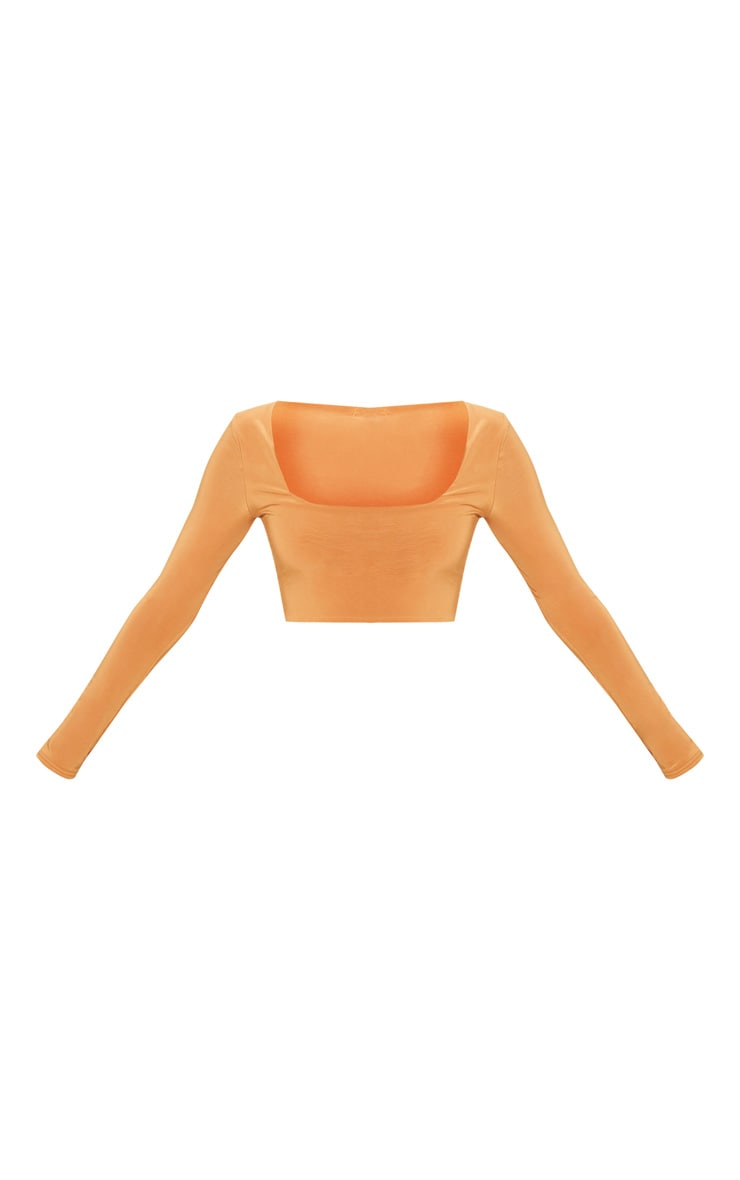 Tangerine Second Skin Square Neck Long Sleeve Crop Top  3