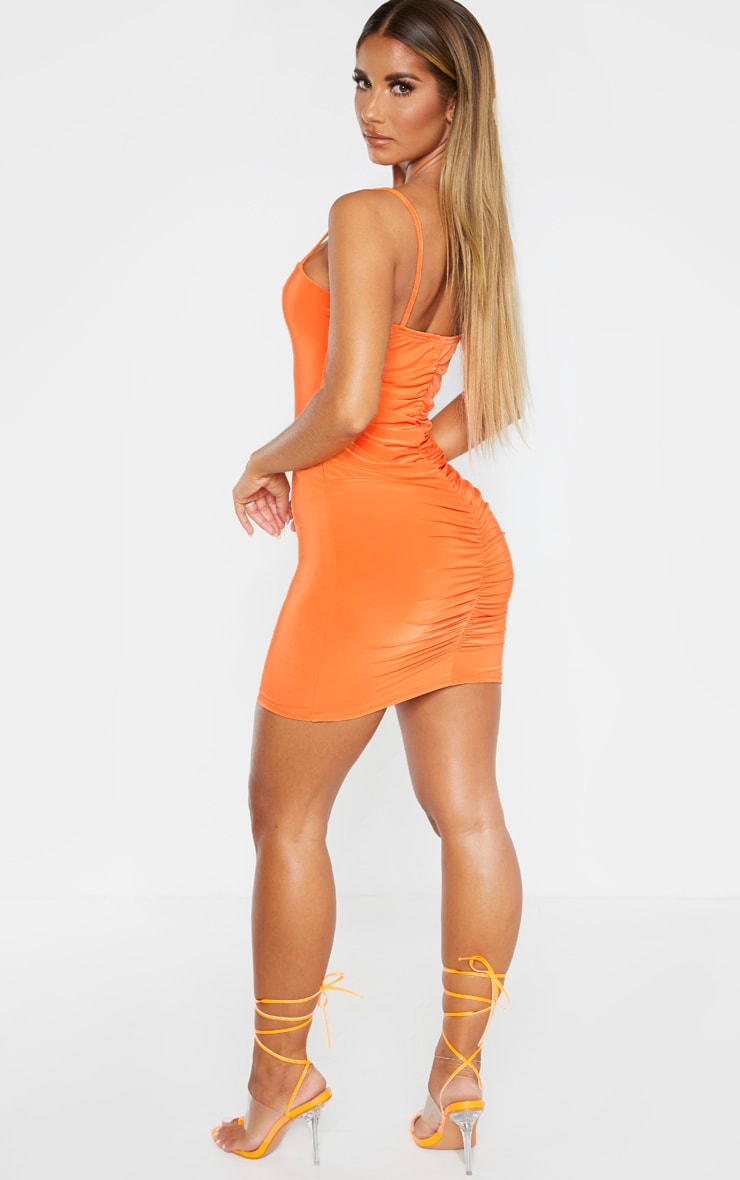 Orange Slinky Strappy Ruched Back Bodycon Dress 4