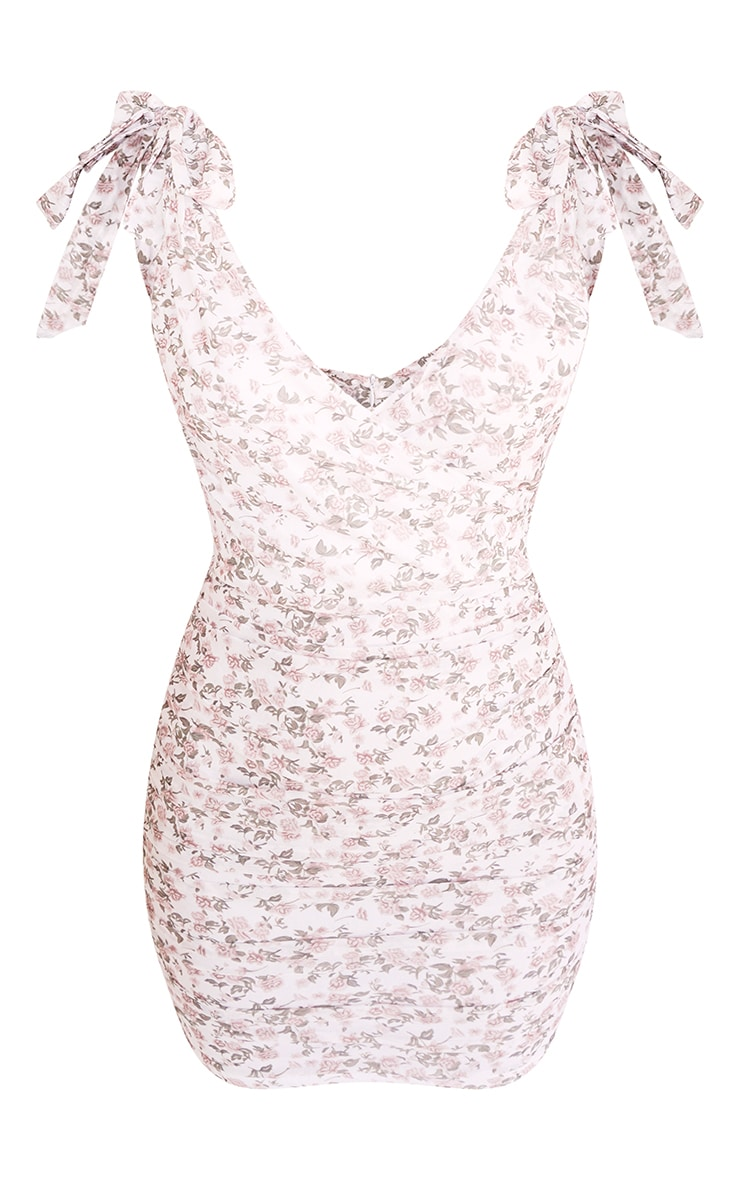 White Floral Print Mesh Ruched Tie Shoulder Bodycon Dress 5