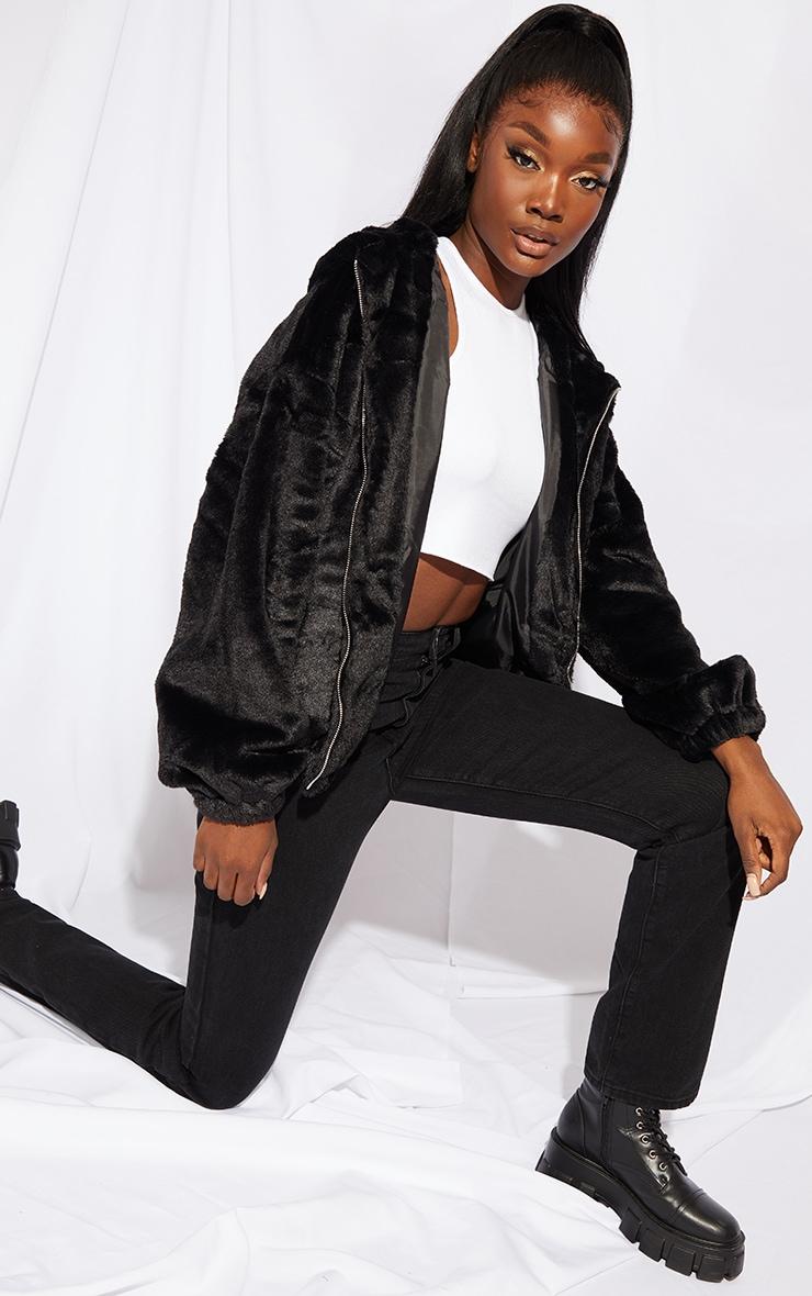 Tall Black Faux Fur Balloon Sleeve Hooded Jacket 3